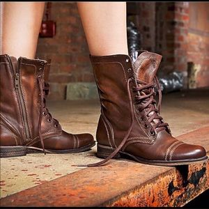 Steve Madden Troopa Brown Distressed Combat Boots